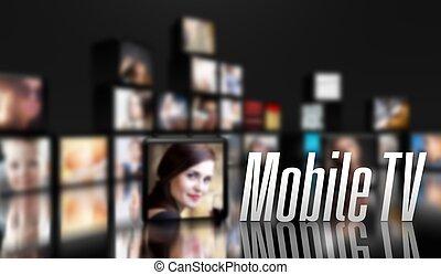mobile, tv, lcd, panneaux, concept