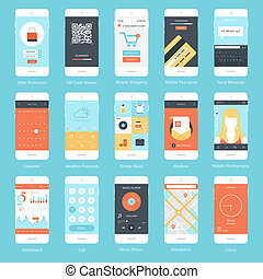 Mobile UI. - Flat vector collection of modern mobile phones...