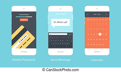 Mobile UI. - Flat vector collection of modern mobile phones ...
