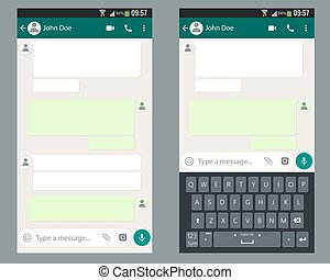 Mobile UI kit Chat app with mobile keyboard template on smartphone screen.