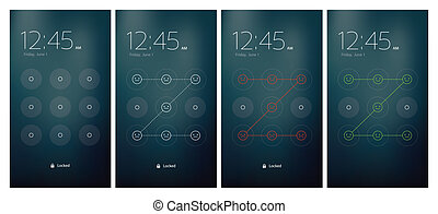 Mobile UI unlocking vector set flat design