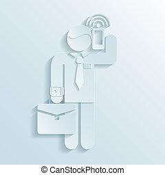 mobile, uomo affari, segno