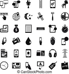 Mobile usage icons set, simple style
