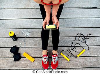mobile, usando, app, sport