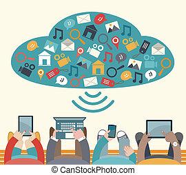 mobile, usando, congegni