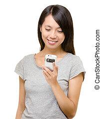 mobile, usando, donna, asiatico
