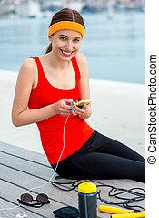 mobile, usando, donna, sport, telefono