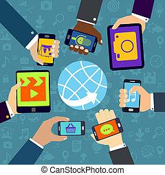 mobile, usando, servizi