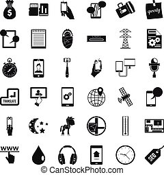 Mobile use icons set, simple style