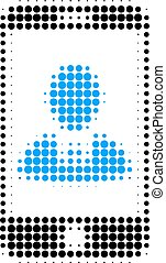 Mobile User Profile Halftone Dotted Icon