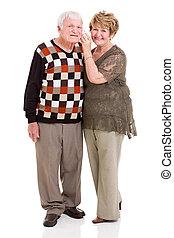mobile, utilisation, couple, retiré, téléphone