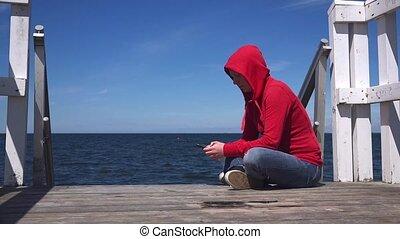 mobile, utilisation, femme, smartphone, jeune