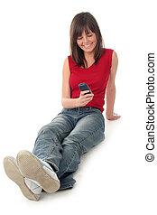 mobile, utilisation, girl