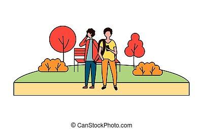 mobile, utilisation, parc, deux, homme