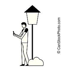 mobile, utilisation, parc, homme