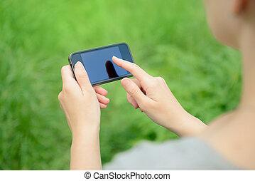 mobile, utilisation, téléphone