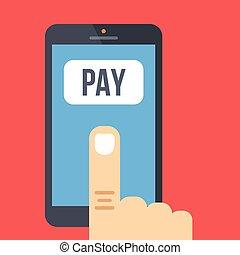 mobile, vecteur, conception, plat, payment.
