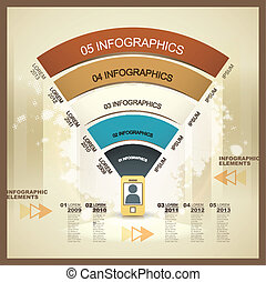 mobile, vecteur, réseau, éléments, infographic