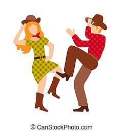 Vector illustration with cowboy and cowgirl dancing country western dance, isolated on white background. Clip art for a poster of a dance competition. Green, red and brown colors, retro couple in flat style.