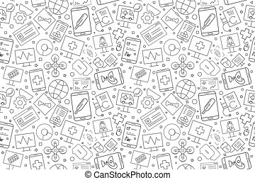 Mobile Vector Online healthcare and medicine pattern. Online healthcare and medicine seamless background.