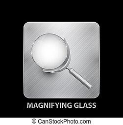 mobile, verre, app, magnifier, bouton