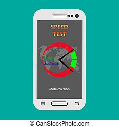 mobile version of the SPEED TEST program is launched on the smartphone screen