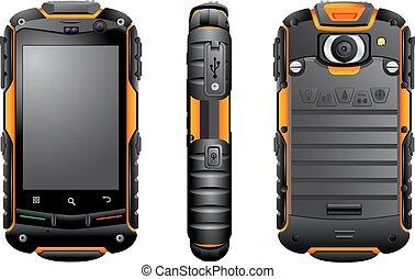 mobile, vettore, smartphone, telefono