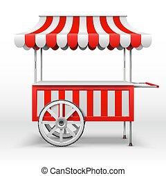mobile, vide, charrette, vecteur, gabarit, paysan, stalle, wheels., marché
