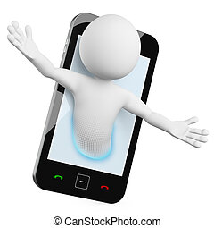mobile, -, video, chiamata, uomo, 3d