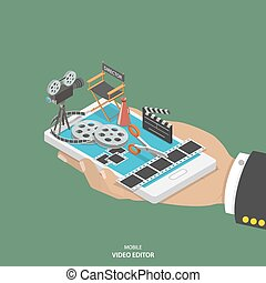 Mobile video editor flat isometric vector concept. Hand with...