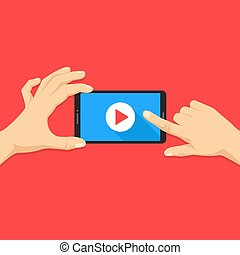 Mobile video. Human hands holding smartphone with online video player on screen. Mobile phone with play button. Modern flat design. Vector illustration