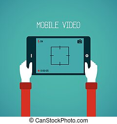 Mobile video vector concept in flat style