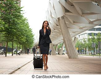 mobile, ville, affaires femme, téléphone
