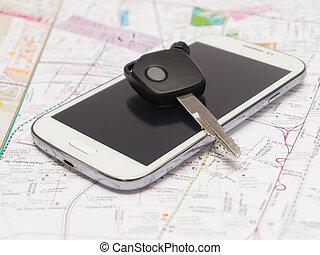mobile, voiture, map., clã©, téléphone