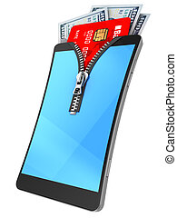 mobile wallet - 3d illustration of mbile phone with zip,...