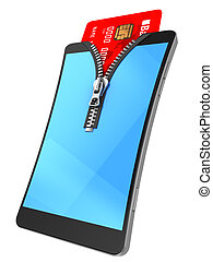 mobile wallet - 3d illustration of mobile phone with zipper...