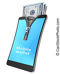 mobile wallet - 3d illustration of using mobile phone as...