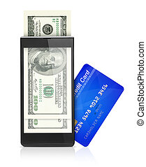 Mobile wallet concept - Credit card, dollars and mobile...