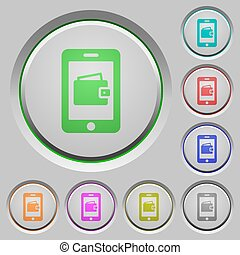 Mobile wallet push buttons - Mobile wallet color icons on...