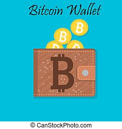 Mobile wallet with bitcoin cryptocurrency. Online payment...