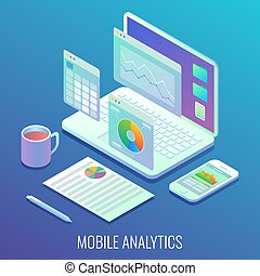 Mobile web analytics concept vector flat isometric illustration