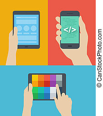 Flat design style modern vector illustration concept of web page wireframe prototyping, mobile website interface coding, choosing color palette scheme on digital tablet. Isolated on stylish colored background