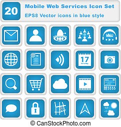 Mobile Web Services Icon set. 20 EPS8 Vector icons in blue...