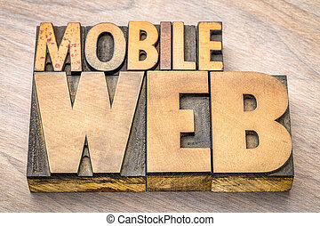mobile web word abstract in wood type