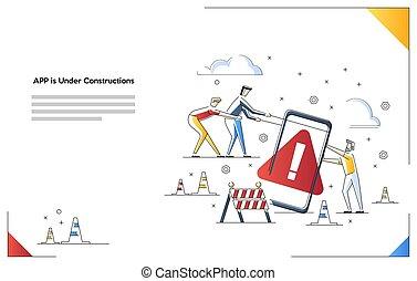 Mobile Website is under construction vector illustration concept