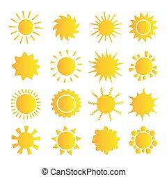 mobile, white., app., été, conception, jaune, collection., icônes, symbole, site web, isolé, pictogramme, soleil, dessin animé, bouton, toile, ensemble