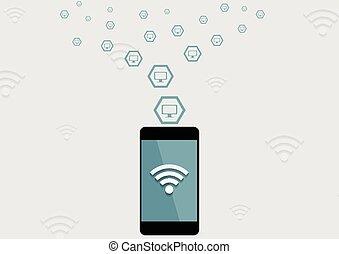 mobile, wifi, téléphone, connexion, technologie, fond