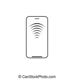Mobile wireless charging line icon. Smartphone with radio or wifi waves. Vector illustration isolated on white background.