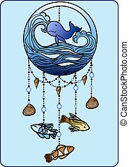 Mobile with fish - Drawing of mobile with different fish and...