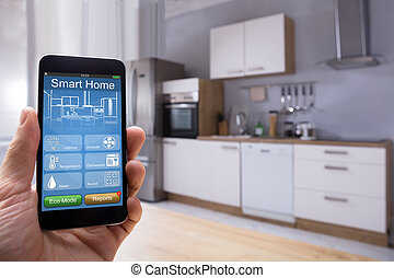 mobilephone, system, person, gebrauchend, daheim, klug
